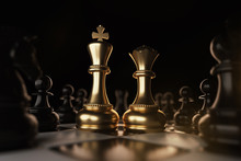 Golden King And Queen Chess Pi...