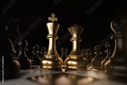 Photo Golden King and Queen Chess piece Concept for business competition and strategy