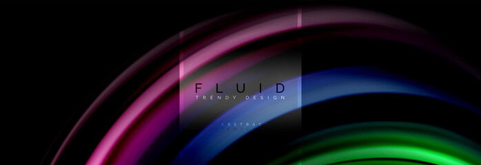 Fluid colors abstract background colorful poster, twisted liquid design on black, colorful marble or plastic wave texture backdrop, multicolored template for business or technology presentation or web