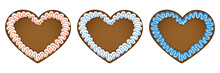 Set Of Three Gingerbread Heart...