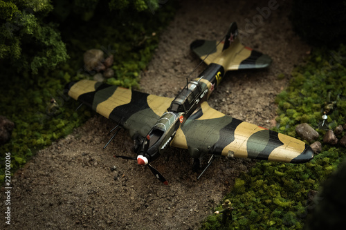 Photo  Model of airplane IL-2 with soldiers in diorama