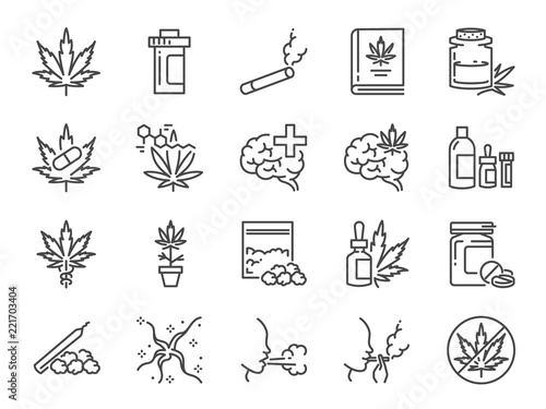 Photographie Cannabidiol icon set