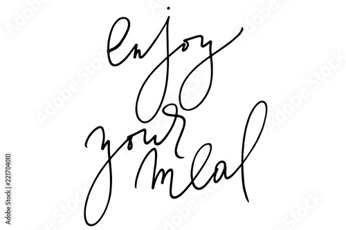 Phrase calligraphy enjoy your meal handwritten text vector Wallpaper Mural