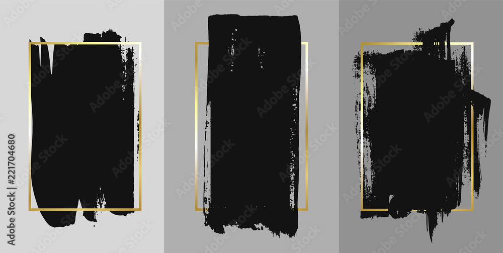 Fototapeta Vector black paint, ink brush stroke, brush, line or texture. Texture artistic design element, box, frame or background for text.