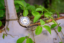 Vintage Pocket Watch On Old Ca...