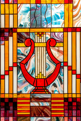 Naklejkaimage of a multicolored stained glass window with an irregular block pattern, an abstract pattern on the glass, a trend, a multicolored geometric background