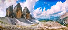 Tre Cime Di Lavaredo Panoramic View. Dolomiti Italian Alps, Veneto, Italy