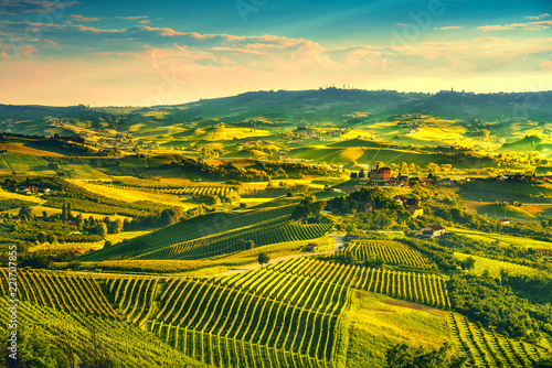 La pose en embrasure Jaune Langhe vineyards sunset panorama, Grinzane Covour, Piedmont, Italy Europe.
