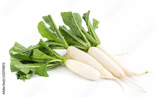 fresh white radish isolated on white background