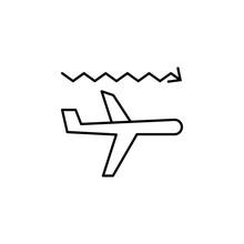 Airplane Turbulence Icon. Element Of Arrow And Object Icon For Mobile Concept And Web Apps. Thin Line Airplane Turbulence Icon Can Be Used For Web And Mobile