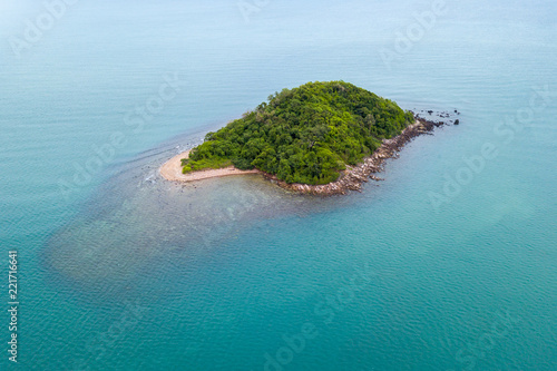 Aerial view island in the sea