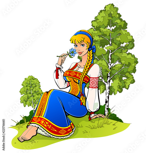 Photo Young girl in Russian national costume on a background of nature.