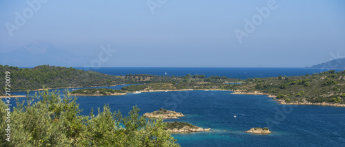 Spoed Foto op Canvas Mediterraans Europa Aerial view on sithonian islands, Greece