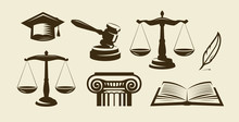 Justice Set Of Icons. Lawyer, ...