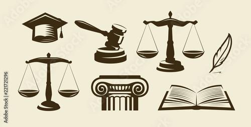 Cuadros en Lienzo Justice set of icons