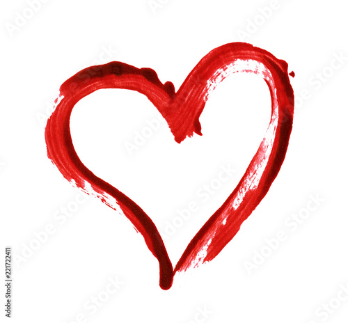 Photo Closup of red heart painted with a brush