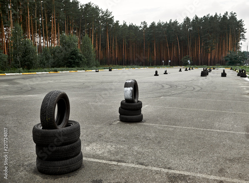 Fotografía  autodrome for driving training, large area for road signs, training elements and