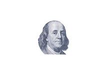 Benjamin Franklin Face On One Hundred US Dollar Bill. United States Money.