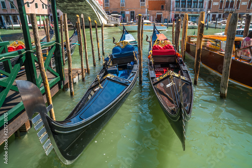 gondola in the narrow canals of Venice, Italy