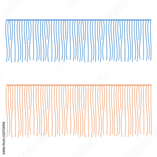 Fotografie, Obraz  Fringe rows vector garments component. Brush border tassel, trim