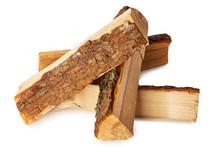 Split Logs Of Wood For Fuel On White