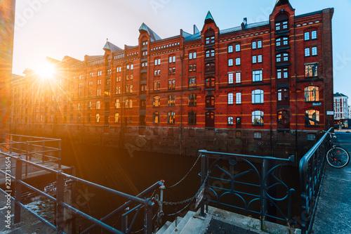 Foto  A red brick multi-storey houses of Speicherstadt Hamburg