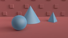 Abstract Scene Of Geometric Shapes. Ball, Cone, And Pyramid Blue. Soft Ambient Light In A 3D Scene With A Background Of Red-brown Color And Cubes In A Checkerboard Pattern On The Back Wall