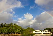 A Rainbow Over The Rainbow Bridge In Hale'iwa Hawaii