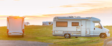 Recreational Vehicle At Sunset Norway, Europe