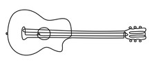 One Line Drawing Of A Musical Stringed Guitar Instrument Isolated On White Background.