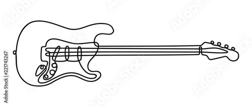 Fotografiet One line drawing of a musical stringed electric guitar instrument isolated on white background