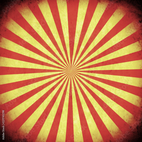 Fotografia, Obraz  A square box with red and yellow stripes converging and forming a circle