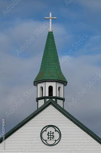 Closeup of the steeple of Saint Joseph's Catholic Church in Bonavista, Newfoundland