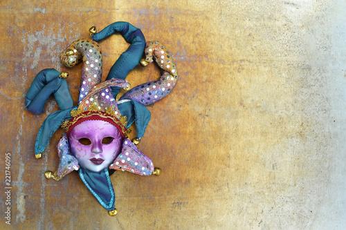 Fototapeta Venetian carnival mask on grunge background obraz