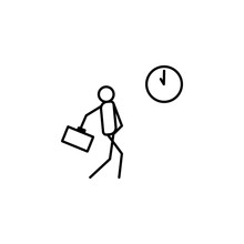 Be Late For Work Outline Icon. Element Of Lazy Person Icon For Mobile Concept And Web Apps. Thin Line Icon Be Late For Work Can Be Used For Web And Mobile