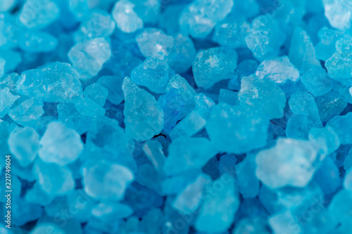 Background macro shot of blue crystals of salt, mineral or chemical reagent, cop Canvas Print