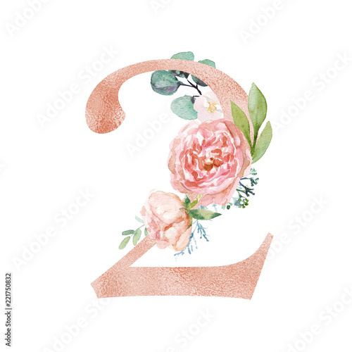 Peach Cream Blush Floral Number - digit 2 with flowers bouquet composition. Unique collection for wedding invites decoration & other concept ideas. Wall mural