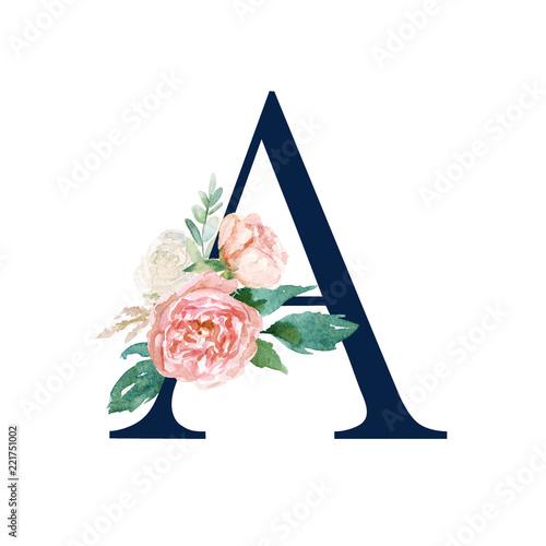 Floral Alphabet - navy color letter A with flowers bouquet ...