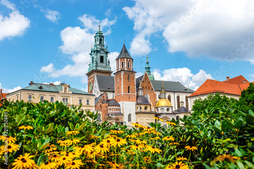 Fototapeta View of the Wawel cathedral on the Wawel Hill in Krakow, Poland obraz