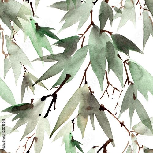 Plakat Zielone liście bambusa malowane akwarelą