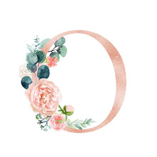 Floral Alphabet - Blush / Peach Color Letter O With Flowers Bouquet Composition. Unique Collection For Wedding Invites Decoration And Many Other Concept Ideas.