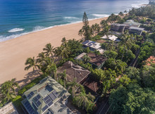 Aerial View Of Beach Front Houses On The North Shore Of Oahu Hawaii