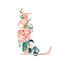 Floral Alphabet - Blush / Peach Color Letter L With Flowers Bouquet Composition. Unique Collection For Wedding Invites Decoration And Many Other Concept Ideas.