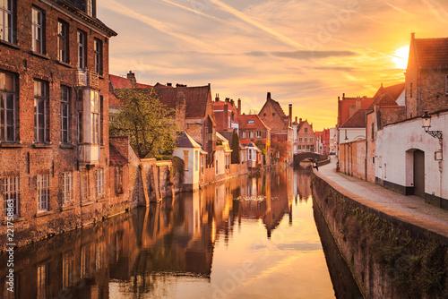 Deurstickers Brugge Historic city of Brugge at sunrise, Flanders, Belgium