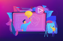 A Man With Easel Before Screen With Video Learning How To Draw A Portrait. Education Video, Modern Teaching Tool And Interactive Learning Concept. Violet Palette. Vector Illustration On Background