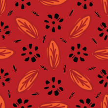 Red Bohemian Retro Floral Vector Pattern Seamless, Hand Drawn Stylized Folk Art Daisy Leaf Flower Illustration For Trendy Fashion Prints, Wallpaper, Stationery, Vintage Home Decor, Gift Wrap, Textiles