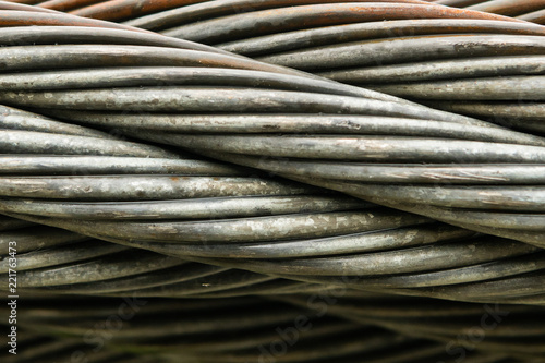 Close Up Of Thick Braided Wire Cable Buy This Stock Photo And