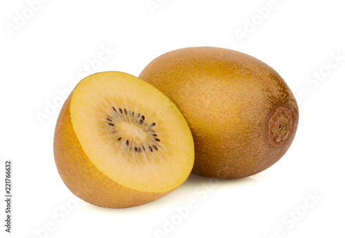 whole and half yellow kiwi fruit isolated on white background