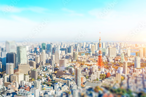 Photo  panoramic modern city skyline aerial view under blue sky in Tokyo, Japan