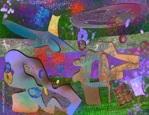 Photo  Cutout grafitti painted original art abstract background